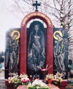 художественное оформление на надгробный памятник из камня для могилы