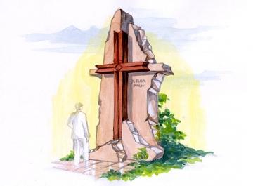 крест на ритуальный памятник из камня для кладбищ